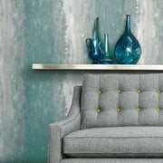 Oxidized Metal Peel and Stick Wallpaper blue roomset 2