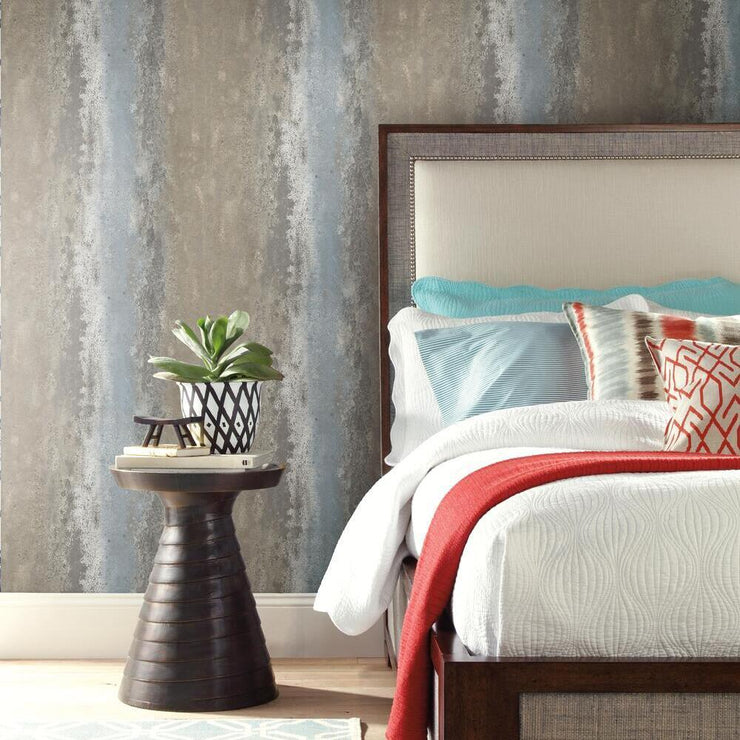 Oxidized Metal Peel and Stick Wallpaper gray roomset 2