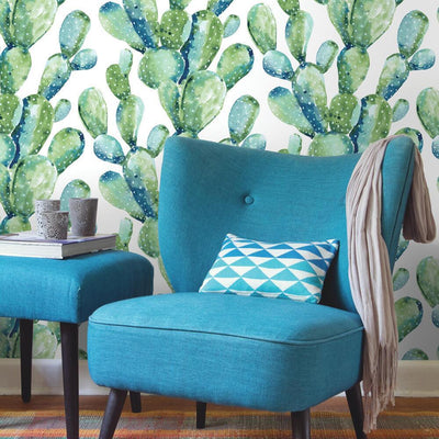 Prickly Pear Cactus Peel and Stick Wallpaper blue roomset