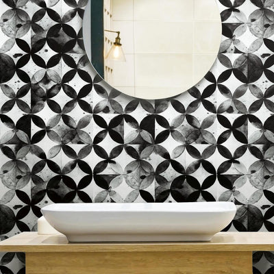 Paul Brent Moroccan Tile Peel and Stick Wallpaper black roomset