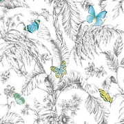Butterfly Sketch Peel and Stick Wallpaper yellow