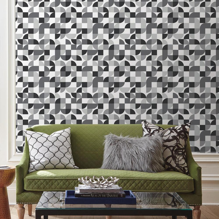 Mid-Century Geometric Peel and Stick Wallpaper black roomset 2