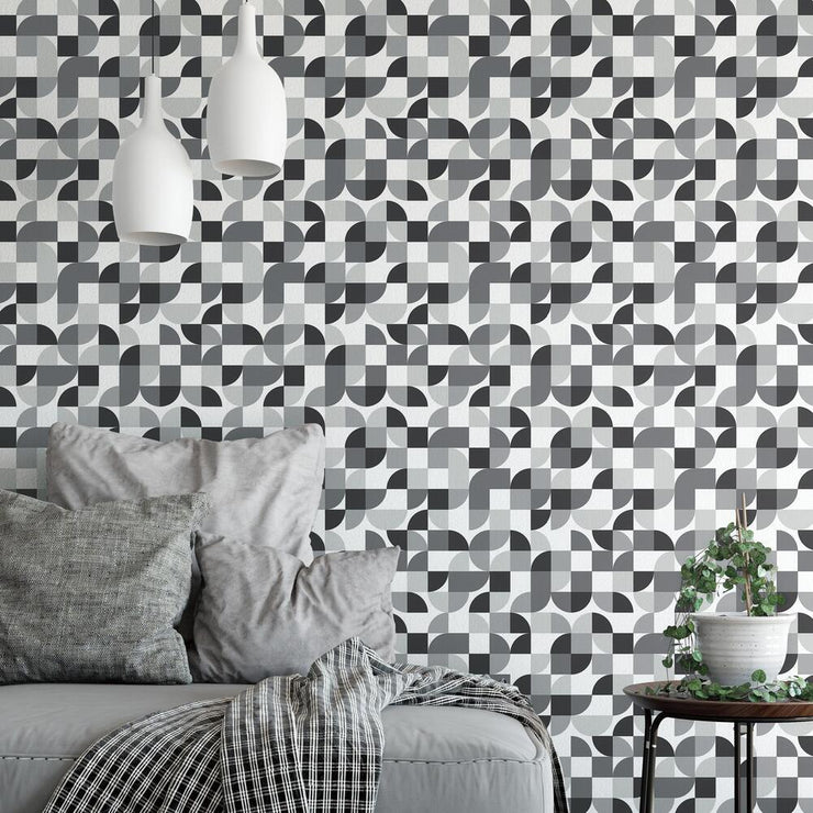 Mid-Century Geometric Peel and Stick Wallpaper black roomset 4