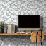 Mid-Century Geometric Peel and Stick Wallpaper blue roomset