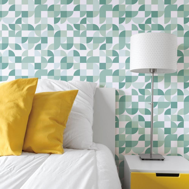 Mid-Century Geometric Peel and Stick Wallpaper green roomset 4