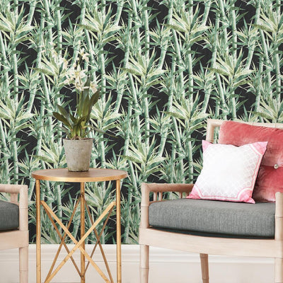 Lucky Bamboo Peel and Stick Wallpaper black roomset