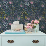 Dandelion Peel and Stick Wallpaper pink roomset 4