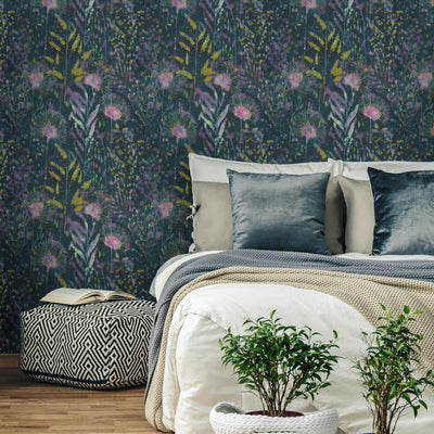 Dandelion Peel and Stick Wallpaper pink roomset