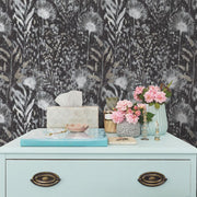 Dandelion Peel and Stick Wallpaper black roomset 4