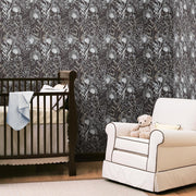 Dandelion Peel and Stick Wallpaper black roomset 5