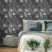 Dandelion Peel and Stick Wallpaper black roomset