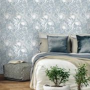 Dandelion Peel and Stick Wallpaper white roomset