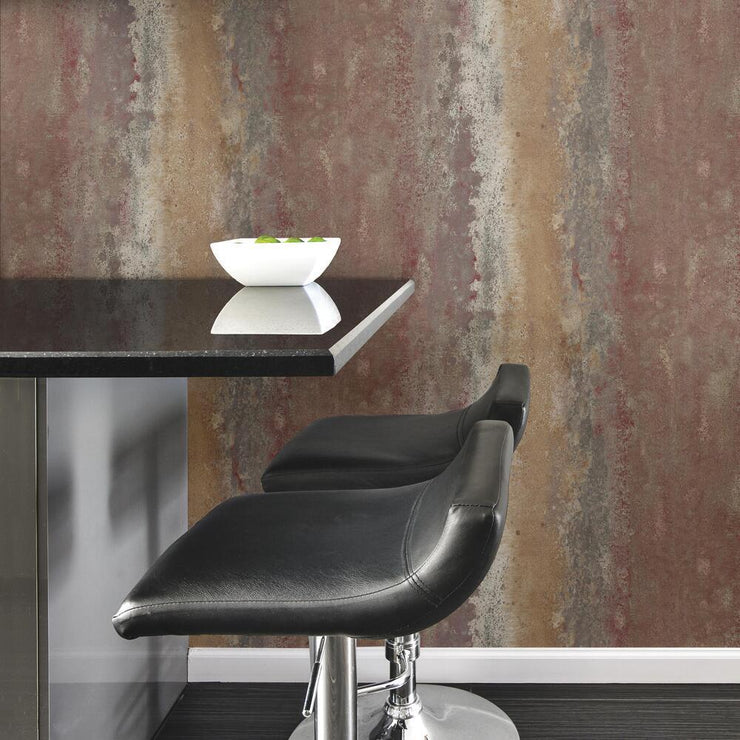 Oxidized Metal Peel and Stick Wallpaper red roomset 2