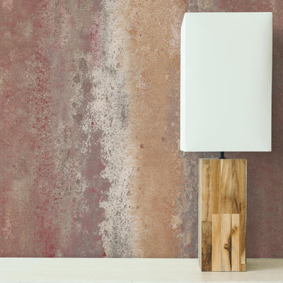 Oxidized Metal Peel and Stick Wallpaper red roomset