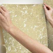 Metallic Leaf Peel and Stick Wallpaper gold hang