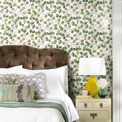 CatCoq Eucalyptus Peel and Stick Wallpaper green roomset 2
