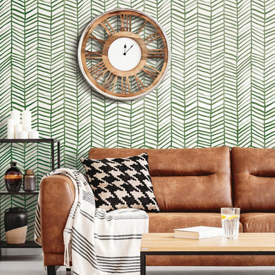 CatCoq Herringbone Peel and Stick Wallpaper green roomset 2