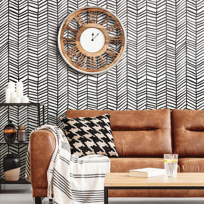 CatCoq Herringbone Peel and Stick Wallpaper black roomset 2
