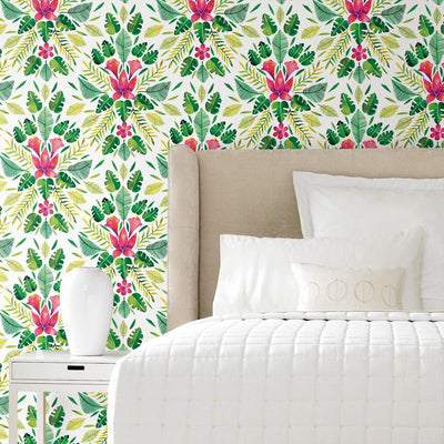 CatCoq Tropical Peel and Stick Wallpaper green roomset 2