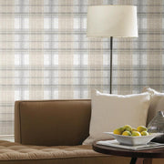 Tweed Plaid Peel and Stick Wallpaper gray roomset 2