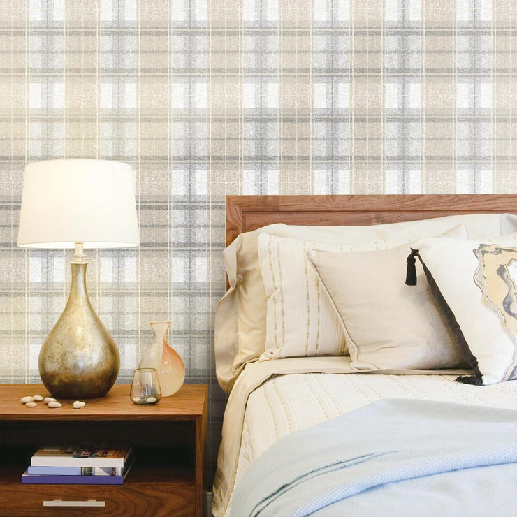 Tweed Plaid Peel and Stick Wallpaper gray roomset