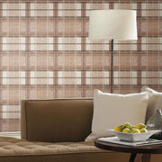 Tweed Plaid Peel and Stick Wallpaper red roomset 2