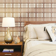 Tweed Plaid Peel and Stick Wallpaper red roomset