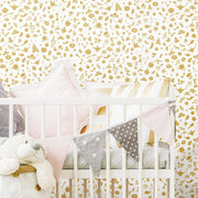 Princess Icons Peel and Stick Wallpaper with Glitter gold roomset 2