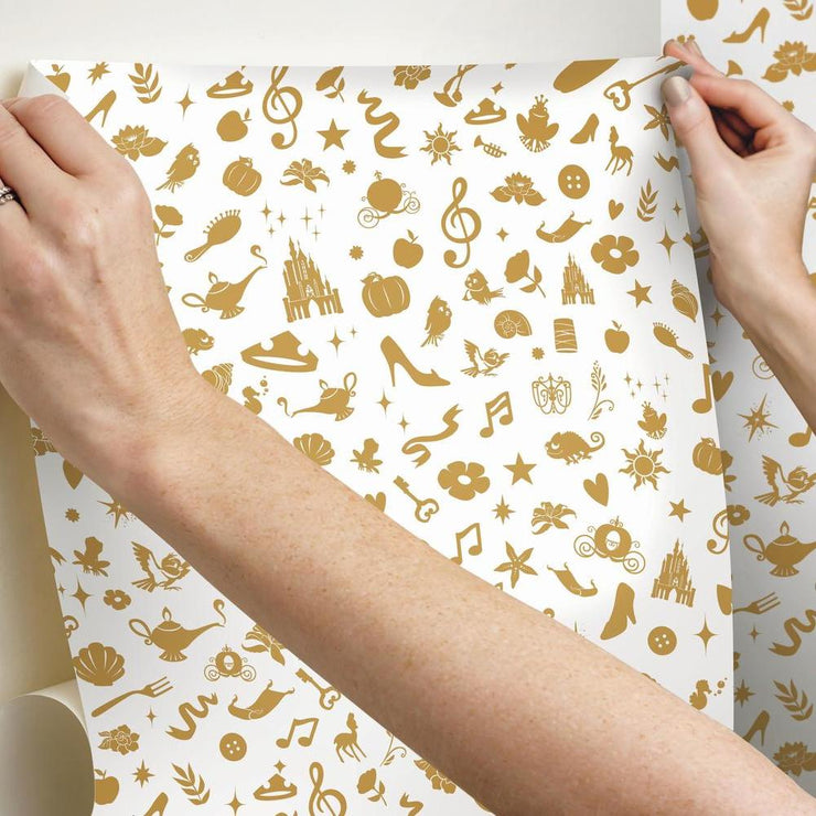 Princess Icons Peel and Stick Wallpaper with Glitter gold hang