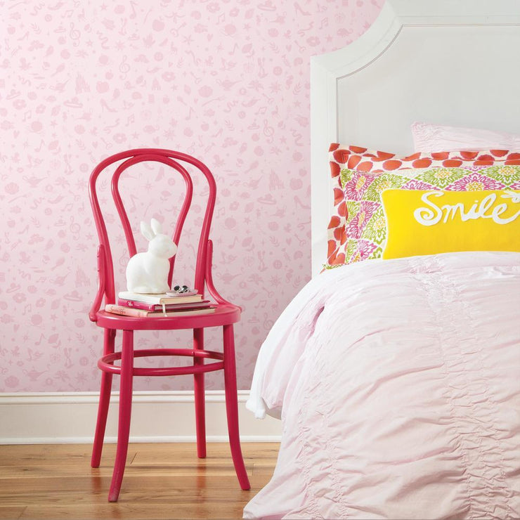 Princess Icons Peel and Stick Wallpaper with Glitter pink roomset 2