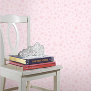 Princess Icons Peel and Stick Wallpaper with Glitter pink roomset 4