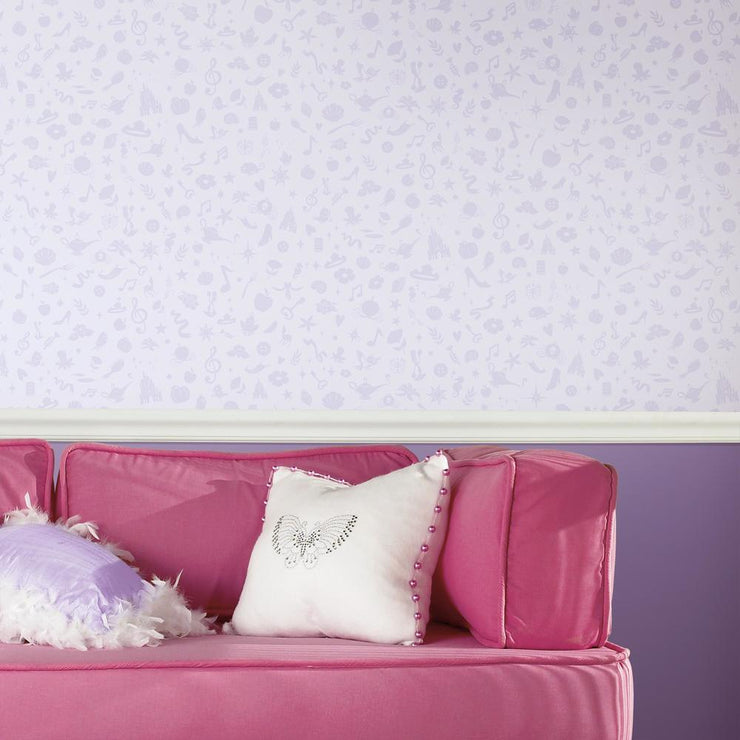 Princess Icons Peel and Stick Wallpaper with Glitter purple roomset 4