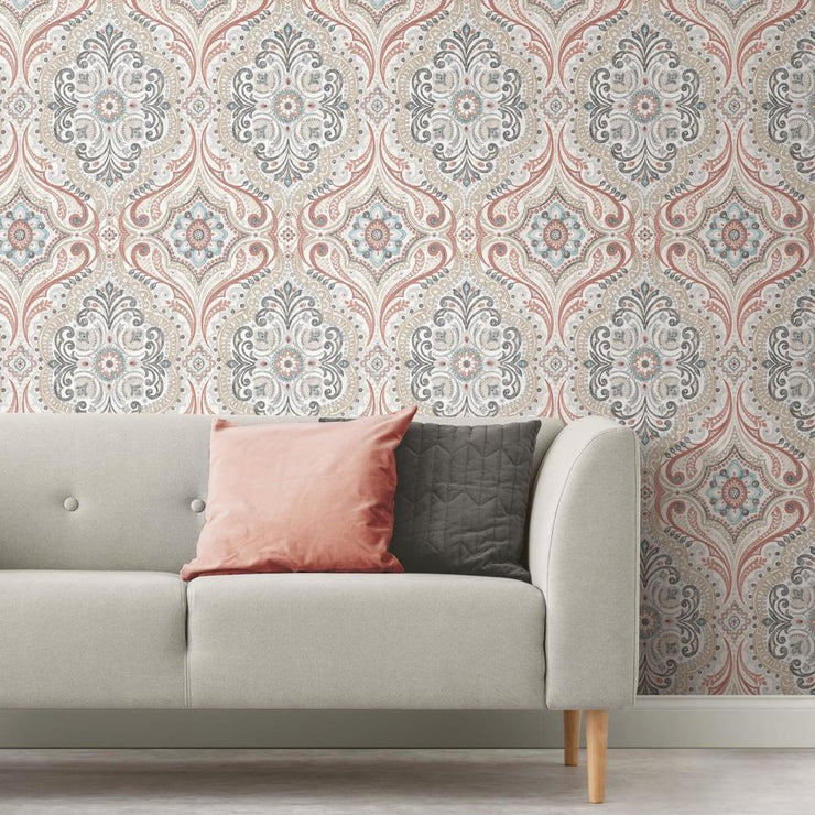 Bohemian Damask Peel and Stick Wallpaper red roomset