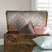 Bohemian Damask Peel and Stick Wallpaper red roomset 3