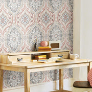 Bohemian Damask Peel and Stick Wallpaper red roomset 4