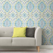 Bohemian Damask Peel and Stick Wallpaper green roomset