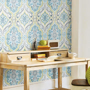 Bohemian Damask Peel and Stick Wallpaper green roomset 4