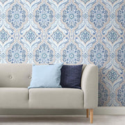 Bohemian Damask Peel and Stick Wallpaper blue roomset