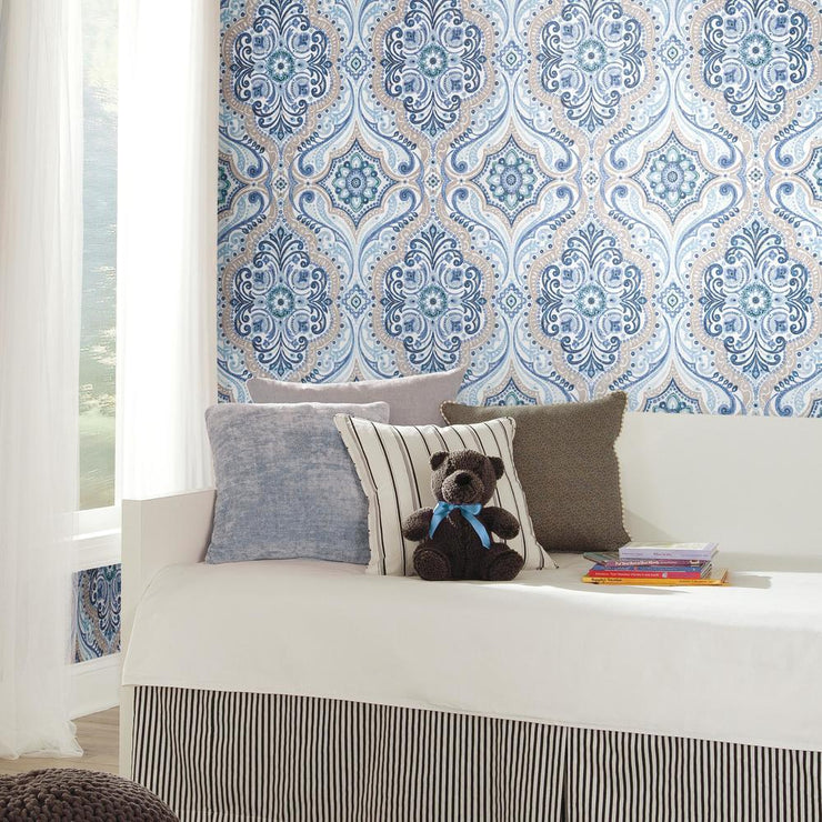 Bohemian Damask Peel and Stick Wallpaper blue roomset 2