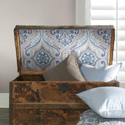 Bohemian Damask Peel and Stick Wallpaper blue roomset 3
