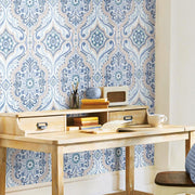 Bohemian Damask Peel and Stick Wallpaper blue roomset 4