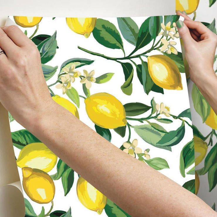 Lemon Zest Peel and Stick Wallpaper hang
