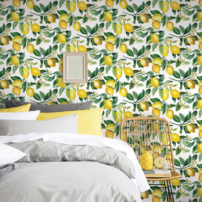 Lemon Zest Peel and Stick Wallpaper white roomset