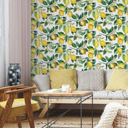 Lemon Zest Peel and Stick Wallpaper white roomset 2