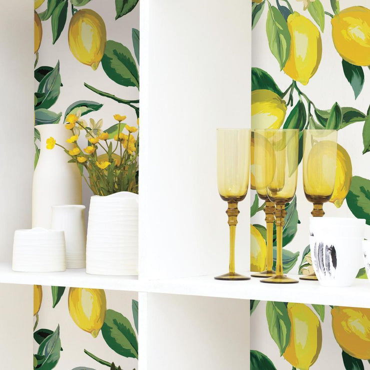 Lemon Zest Peel and Stick Wallpaper white roomset 3