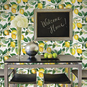 Lemon Zest Peel and Stick Wallpaper white roomset 4