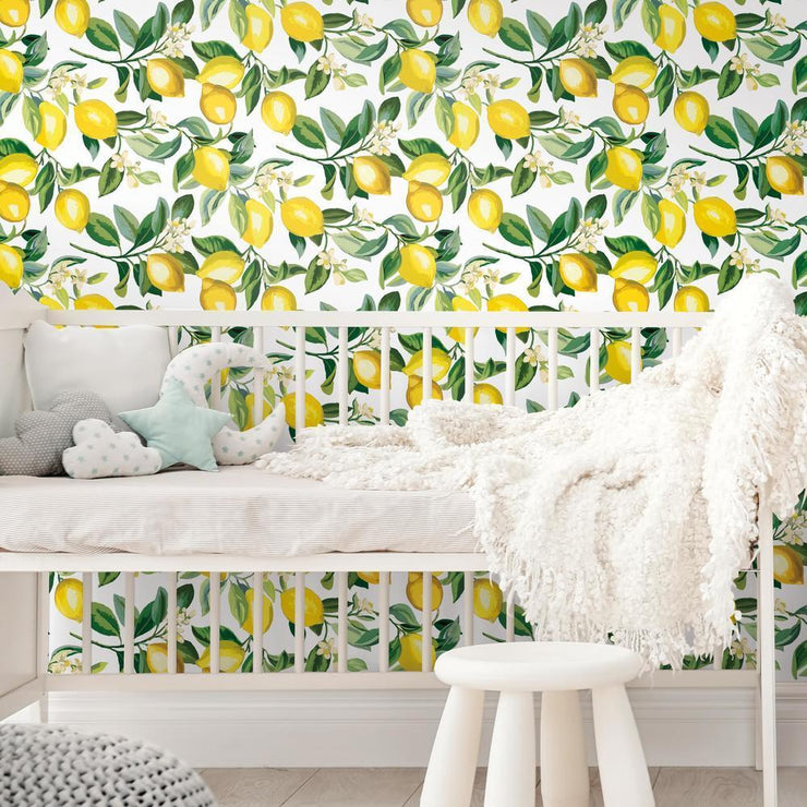 Lemon Zest Peel and Stick Wallpaper white roomset 5