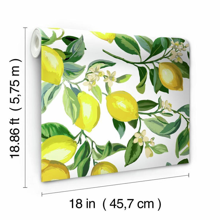 Lemon Zest Peel and Stick Wallpaper white roll