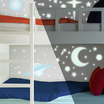 Celestial Stars & Planets Glow in the Dark Wall Decals roomset 2