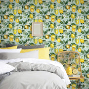 Lemon Zest Peel and Stick Wallpaper blue roomset